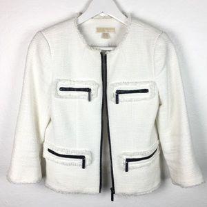 Winter White Michael Kors Blazer Chanel Style cut